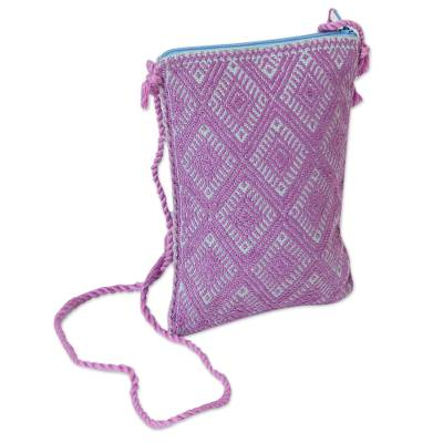 Cotton Cell Phone Bag in Amethyst and Azure from Mexico