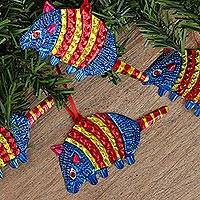 Embossed tin ornaments, 'Armadillos in Blue' (Set of 4) - Colorful Blue Armadillo Embossed Tin Ornaments (Set of 4)