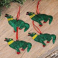 Tin ornaments, 'Holiday Coyotes in Green' (set of 4) - Tin Coyote Ornaments in Green from Mexico (Set of 4)