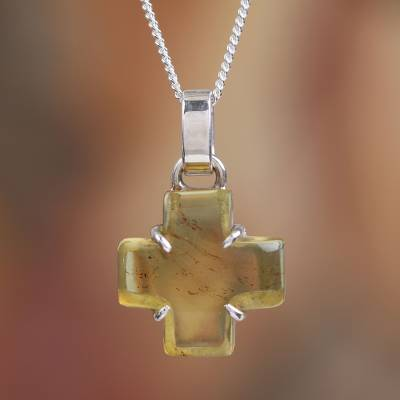 Amber pendant necklace, 'Square Cross' - Natural Amber Cross Pendant Necklace from Mexico