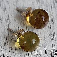 Amber stud earrings, 'Natural Spheres' - Round Natural Amber Stud Earrings from Mexico