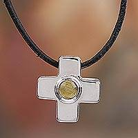 Amber pendant necklace, 'Natural Center' - Adjustable Amber Cross Pendant Necklace from Mexico