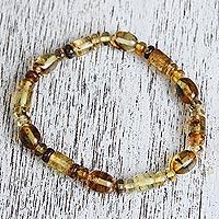 Amber beaded stretch bracelet Unique Elegance (Mexico)