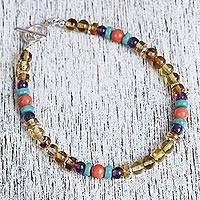 Amber and agate beaded bracelet, 'Colorful Baubles' - Colorful Amber and Agate Beaded Bracelet from Mexico