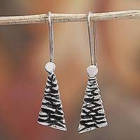 Sterling silver dangle earrings, 'Taxco Texture' - Modern Taxco Sterling Silver Dangle Earrings from Mexico