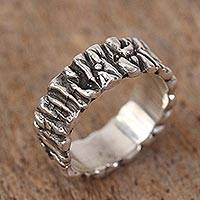 Sterling silver band ring, 'Taxco Texture' - Modern Taxco Sterling Silver Band Ring from Mexico