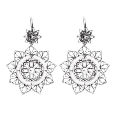 Floral Taxco Sterling Silver Filigree Dangle Earrings