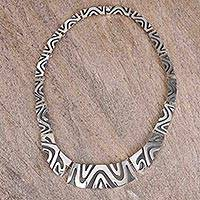 Sterling silver link necklace, 'Wavy Labyrinth' - Modern Taxco Sterling Silver Link Necklace from Mexico