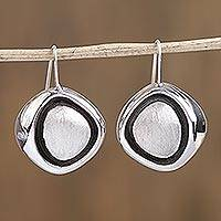 Sterling silver drop earrings, 'Abstract Eyes' - Abstract Sterling Silver Drop Earrings from Mexico