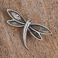 Sterling silver pendant, 'Dark Wings' - Taxco Sterling Silver Dragonfly Pendant from Mexico