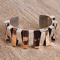 Sterling silver cuff bracelet, 'Dual Symmetry' - Taxco Sterling Silver and Copper Cuff Bracelet from Mexico