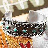 Turquoise cuff bracelet, 'Taxco Curls' - Taxco Natural Turquoise Cuff Bracelet from Mexico