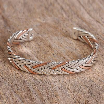 Sterling silver and copper cuff bracelet, 'Taxco Braid' - Braid Motif Taxco Sterling Silver Cuff Bracelet from Mexico