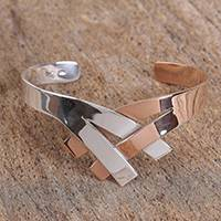 Sterling silver cuff bracelet, 'Metallic Union' - Sterling Silver and Copper Cuff Bracelet from Mexico