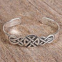 Sterling silver cuff bracelet, 'Intricate Cross' - Taxco Sterling Silver Cross Cuff Bracelet from Mexico