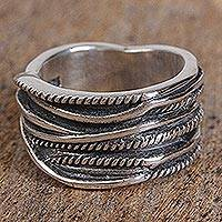 Men's sterling silver band ring, 'Ropes' - Men's Rope Motif Sterling Silver Band Ring from Mexico