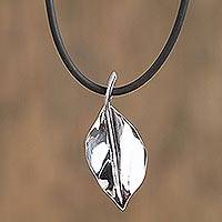 Sterling silver pendant necklace, 'Smooth Leaf' - Sterling Silver Leaf Pendant Necklace from Mexico