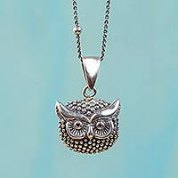 Sterling silver pendant necklace, 'Single Owl' - Sterling Silver Owl Pendant Necklace from Mexico