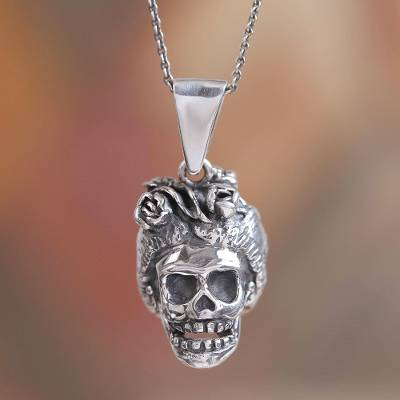 Sterling silver pendant necklace, 'Frida Catrina' - Frida Catrina Sterling Silver Pendant Necklace from Mexico