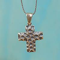 Sterling silver pendant necklace, 'Pockmarked Cross' - Pockmarked Cross Sterling Silver Pendant Necklace
