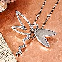 Sterling silver pendant necklace, 'Magnificent Dragonfly' - Sterling Silver Dragonfly Pendant Necklace from Mexico