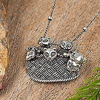 Sterling silver pendant necklace, 'Basket of Kittens' - Cat-Themed Sterling Silver Pendant Necklace from Mexico