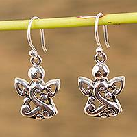 Sterling silver dangle earrings, 'Angel Swirls' - Sterling Silver Angel Dangle Earrings from Mexico