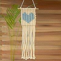 Cotton wall hanging, 'Loving Vibe in Sky Blue' - Cotton Wall Hanging with a Sky Blue Heart from Mexico