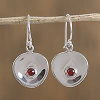Garnet dangle earrings, 'Parabolic Form' - Modern Garnet Dangle Earrings from Mexico