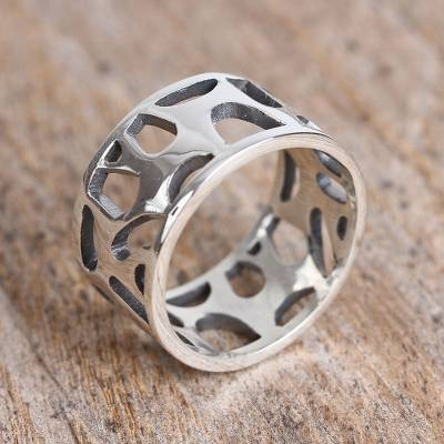Sterling silver band ring, 'Organic Form' - Modern Sterling Silver Band Ring from Mexico