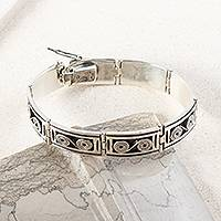 Sterling silver link bracelet, 'Infinite Connections' - Sterling Silver Spiral Motif Rectangular Link Bracelet
