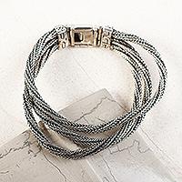 Sterling silver link bracelet,