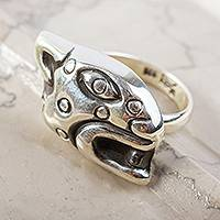 Sterling silver cocktail ring, 'Prowl' - Unisex Handcrafted Sterling Silver Jaguar Head Cocktail Ring