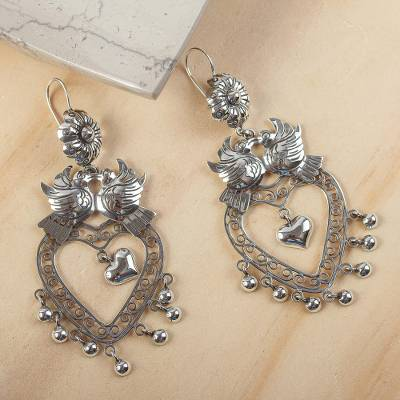 Sterling silver chandelier earrings, 'Amorous Delight' - Heart-Shaped Taxco Sterling Silver Chandelier Earrings