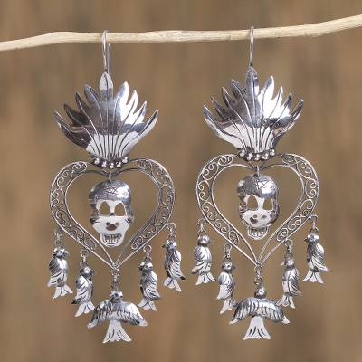 Sterling silver chandelier earrings, 'Miracle of San Miguel' - Religious Taxco Sterling Silver Chandelier Earrings
