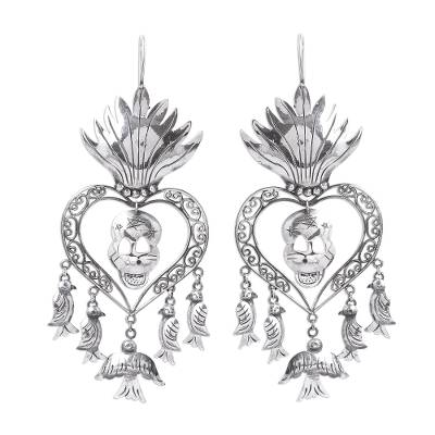 Religious Taxco Sterling Silver Chandelier Earrings