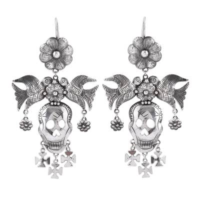 Taxco Sterling Silver Skull Chandelier Earrings from Mexico