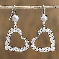 Silver filigree dangle earrings, 'Heart Coils' - Silver Filigree Heart Dangle Earrings from Mexico