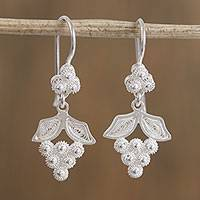 Silver filigree dangle earrings, 'Leafy Grapes' - Grape-Shaped Silver Filigree Dangle Earrings from Mexico