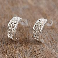 Silver filigree half-hoop earrings, 'Coiled Curves' - Silver Filigree Half-Hoop Earrings Crafted in Mexico