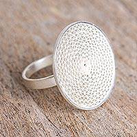 Silver filigree cocktail ring, 'Intricate Circle' - Handmade Silver Filigree Cocktail Ring from Mexico