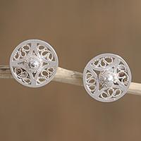 Silver filigree stud earrings,