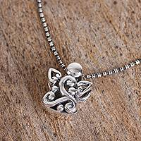 Sterling silver pendant necklace, 'Celtic Angel' - Sterling Silver Celtic Angel Pendant Necklace from Mexico