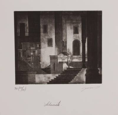 'Labyrinth' - Signed Architectural Surrealist Print from Mexico