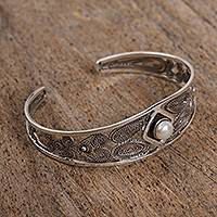 Cultured pearl filigree cuff bracelet, 'Taxco Glow' - Cultured Pearl Filigree Cuff Bracelet from Mexico