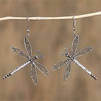 Cultured pearl filigree dangle earrings, 'Taxco Dragonfly' (Mexico)