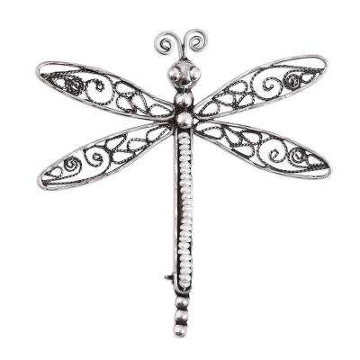 Cultured Pearl Filigree Dragonfly Brooch from Mexico