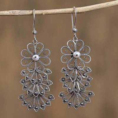 Sterling silver and cultured pearl filigree dangle earrings, 'Raining Petals' - Floral Sterling Silver Filigree Dangle Earrings from Mexico