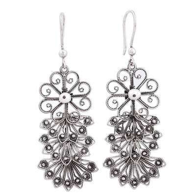 Floral Sterling Silver Filigree Dangle Earrings from Mexico