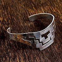 Sterling silver cuff bracelet, 'Geometric Pyramid' - Geometric Taxco Sterling Silver Cuff Bracelet from Mexico